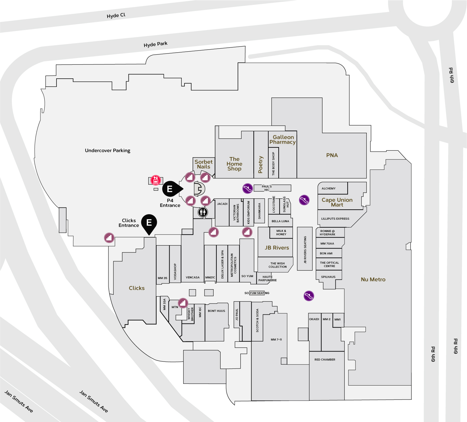 Middle Mall Map
